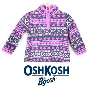 Oshkosh Girls Fair-isle Fleece Sweater 24M Toddler